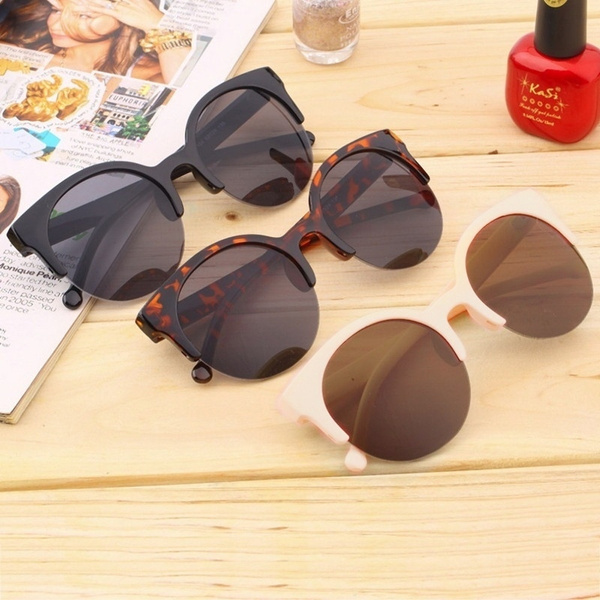 Picture of Fashion Summer Women Fashion Retro Sunglasses Designer Super Round Glasses Cat Eye Semi-rimless Sunglasses Glasses Goggles Oculos De Sol