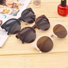 Fashion Summer Women Fashion Retro Sunglasses Designer Super Round Circle Glasses Cat Eye Semi-Rimless Sunglasses Glasses Goggles Oculos De Sol