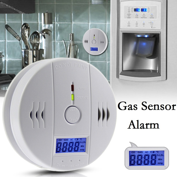Picture of Co Carbon Monoxide Alarm Poisonous Gas Sensor Warning Detector With Lcd Display Color White