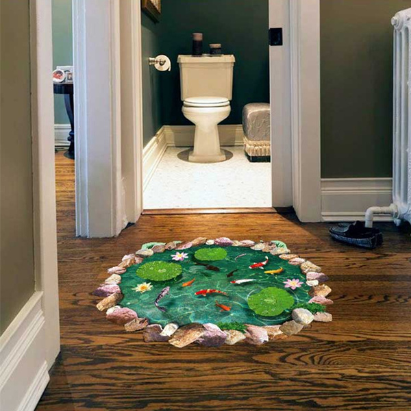 Home 3d Pond Sticker Floor Covering 3d Stickers Creative Room