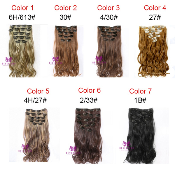 Wish 7pcsset Clip In Hair Extension 22inch Long Curly Wavy Fake
