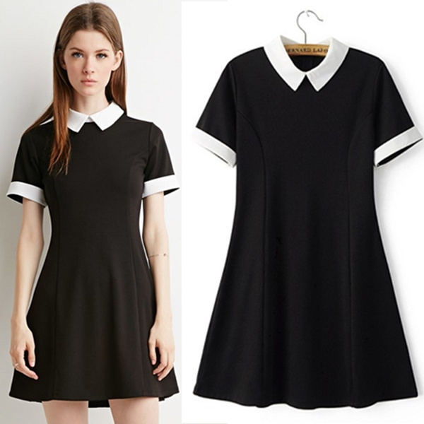 9b69461bfa3 Black Dress White Collar Summer Cute Peter Pan Collar School Preppy ...