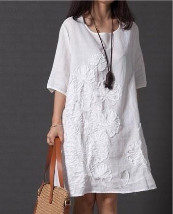 Summer, short sleeve dress, Shirt, Round Collar