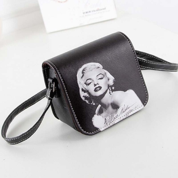Picture of Fashion Women Leather Bag Marilyn Monroe Printed Small Shoulder Bagsize1514cm Color Black