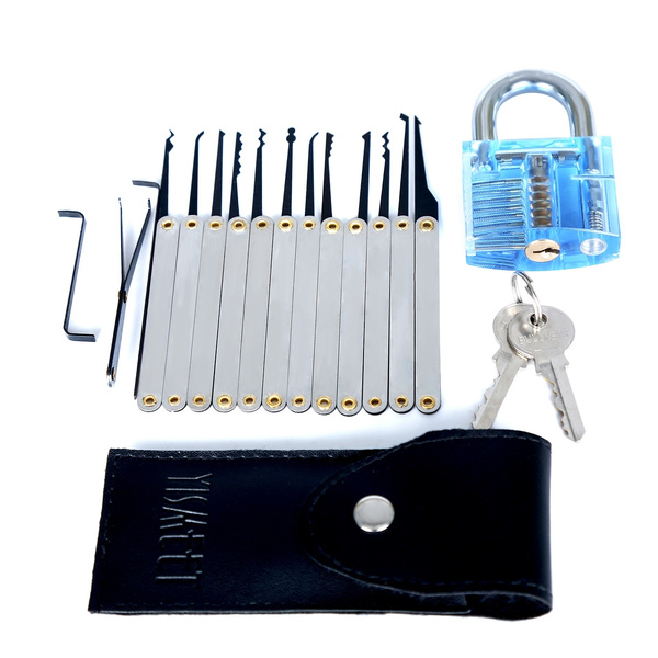 12-Piece Unlocking Lock Pick Set Bundle + Transparent Sapphire Blue  Practice Padlocks With 2 Keys - Good For Beginners Excellent Training  Teaching
