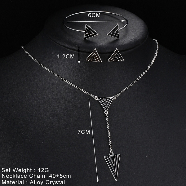 Personality European Style Vintage Triangle Bracelet Necklace Earring Jewelry Set Punk Trendy Hot Fashion Silver Plated Retro Accessories