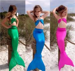Kids Girls Gilding Mermaid Tail Costume Swimwear Bikini Swimsuit Outfit 3pcs Set