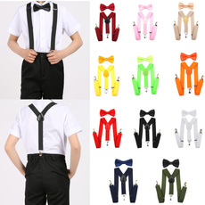 Unisex Kids Boys Girls Adjustable Clip-on Braces Elastic Y-back Suspender and Bow Ties Set  Party Rated