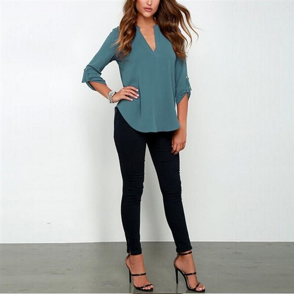 Blusas Femininas  New Women V Neck Solid Chiffon Blouse Sexy lady Long Sleeve Blusa Fashion Blouses Shirt