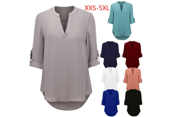 2018 Women's Fashion Solid Color V-neck Long Sleeve Shirt 8 Colors 8 Sizes