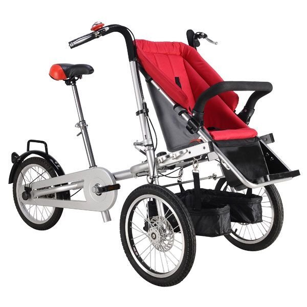 3 Wheels Baby Folding Bike Stroller 16inch Pushchair Mother Baby Stroller Bike Carrier Carrinho 3 In 1