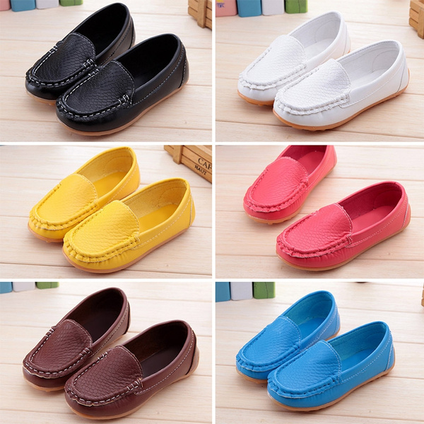 Children Kids Boys Girls Toddler Slip On Loafers Leather Flat Casual Comfy Shoes