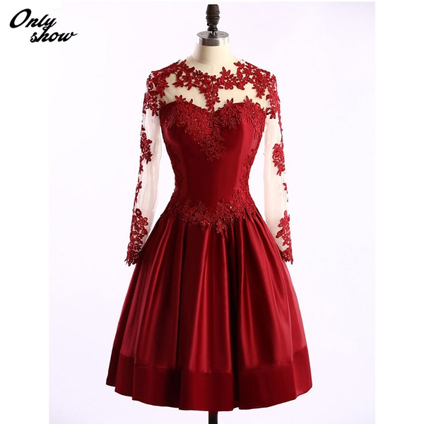 Wish | Wine Red Lace Cocktail Dresses Knee Length Party Dress
