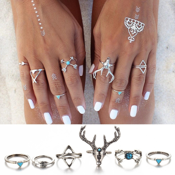 Picture of 6pcs/set Punk Style Elegant Design Knuckle Joint Ring Personality Classics Women Girl Vintage Deer Model Animal Lovely Accessories Wholesale Color Silver