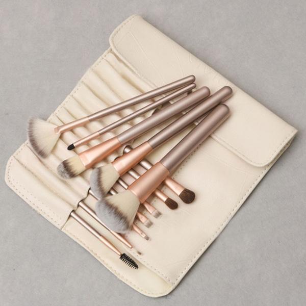 pincel. wish | 12pcs profesional makeup brush set synthetic foundation powder blush eyeliner brushes pincel maquiagem (size: one size, color: gold)