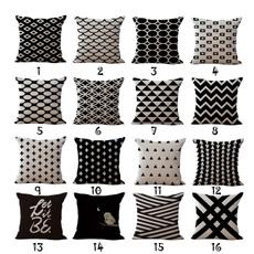 White and Black Geometric Art Square Sofa Throw Decorative Cushion Cover Home Decor