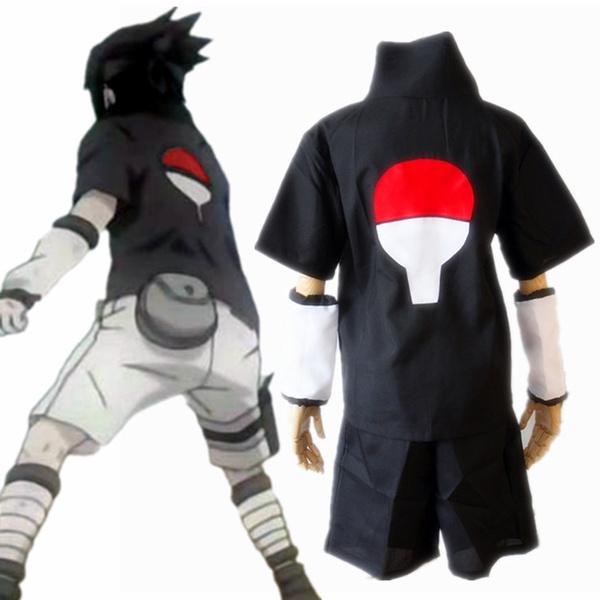 Naruto Sasuke Uchiha 1st Black T Shirt Shorts Cosplay Costume