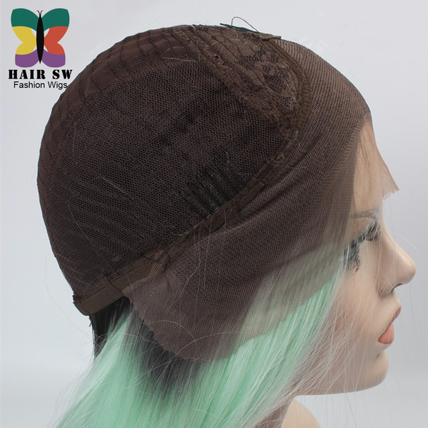 Wish Mint Green Ombre Hair Wig Long Straight Synthetic Lace Front Wig