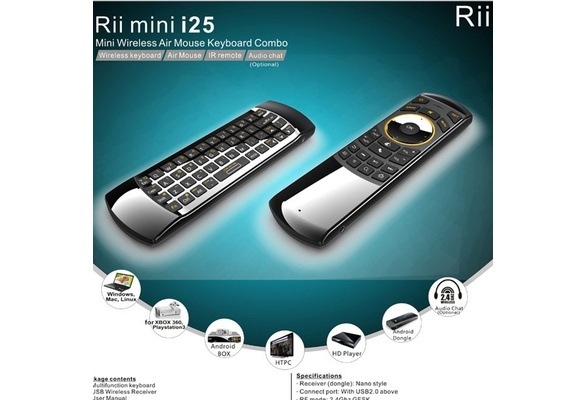 Rii i25 2 4GHz Wireless Keyboard Air Mouse Remote Control Combo for Android  TV Box (Size: 6 68
