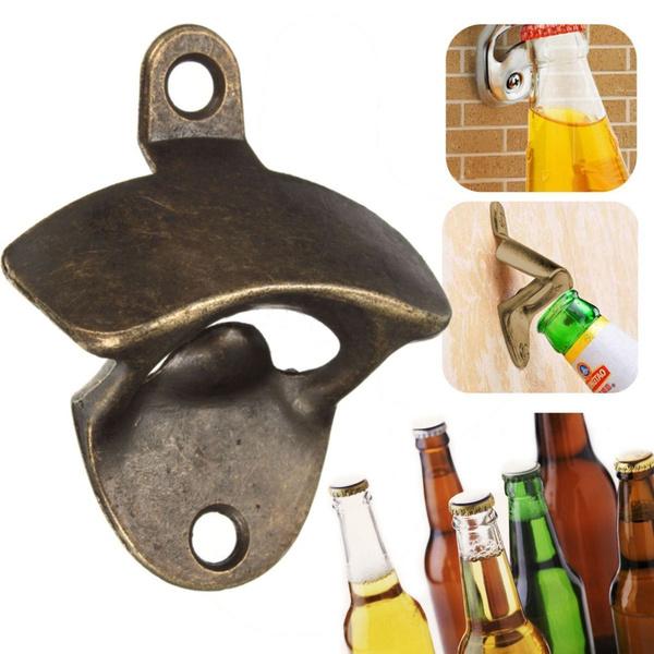 Picture of Bronze Wall Mounted Open Wine Beer Soda Glass Cap Bottle Opener Kitchen Bar Gift