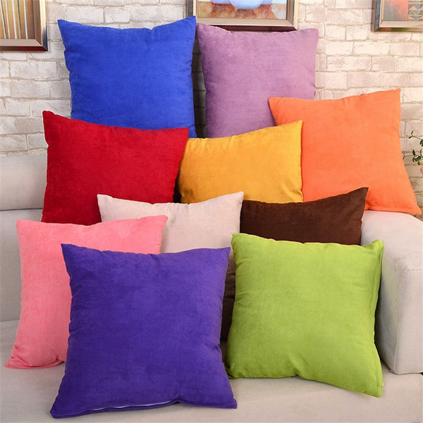 45cm x 45cm Solid Suede Nap Cushion Cover Bed Sofa Throw Pillow Case Home Decor