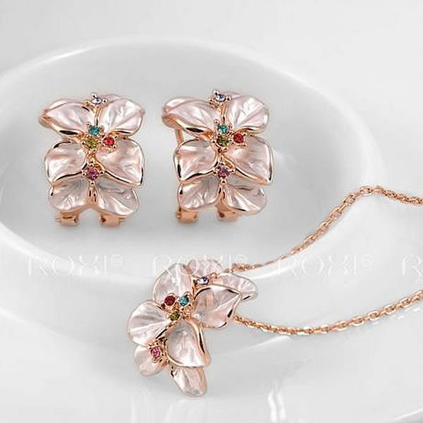 Wish Set Collier Bijoux Boucles D Oreilles En Or Rose Femmes Fleur