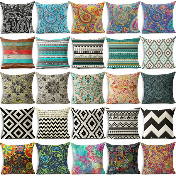Picture of Bohemian Style Colorful Geometric Pattern Drawing Decorative Pillow Cover Cushion Cover Pillowcase Home Decor