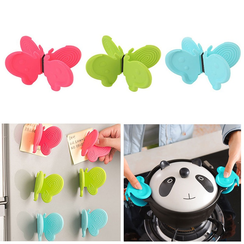 Picture of 2 Pcs Hot Butterfly Shaped Silicone Anti-scald Devices Kitchen Tool Insulation Plate Clamp