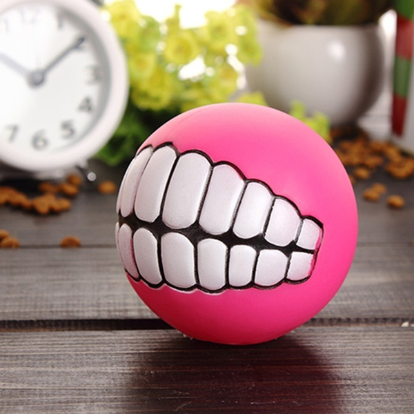 Pet Dog Puppy Ball Teeth Silicon Chew Toys Sound Novelty Playing Funny Toys