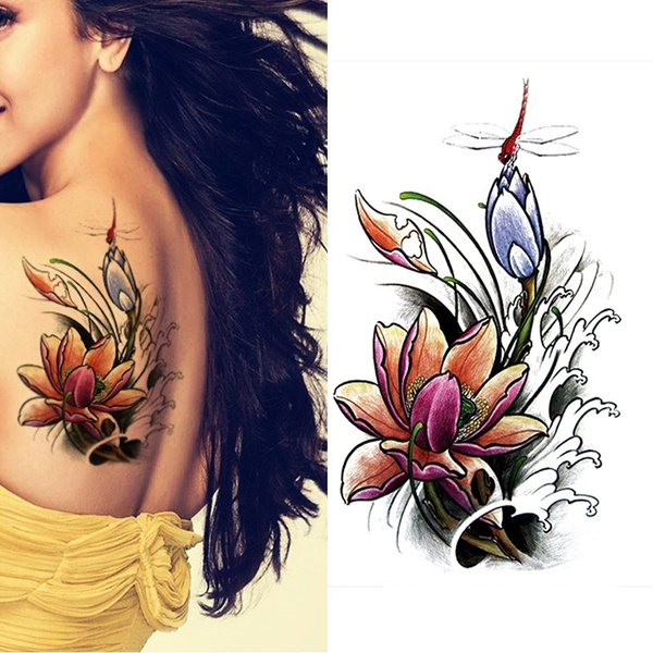 Dragonfly Lotus Peony Rose Color Butterfly Flower Bag Arm Arm Tattoo