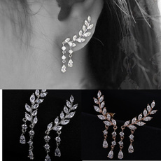 Gold Silver Fashion Earrings Crystal Jewelry Leaves Tassel Women Zircon Ear Stud ZHAI