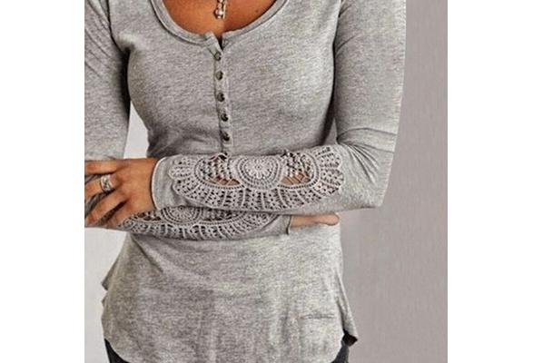 Individual Vogue Women Long Sleeve Cotton Shirt Lace Blouse Loose Top Casual T-shirt