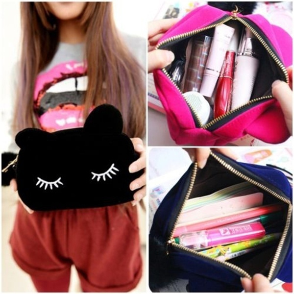 Picture of Flannel Cosmetic Makeup Storage Bags Pen Pencil Pouch Cases Zipper Holder Handbag Travel Toiletry