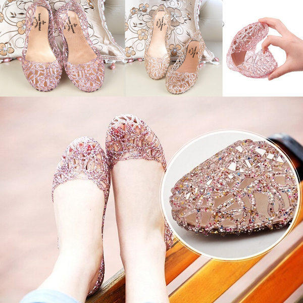Picture of Shoes Fashion Crystal Plastic Breathable Flat Women's Sandals Jelly Women