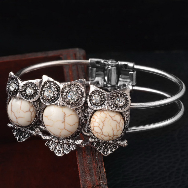 New Fashion Vintage Rimous Turquoise Tibeten Silver Color Owl Cuff Bangle Bracelet