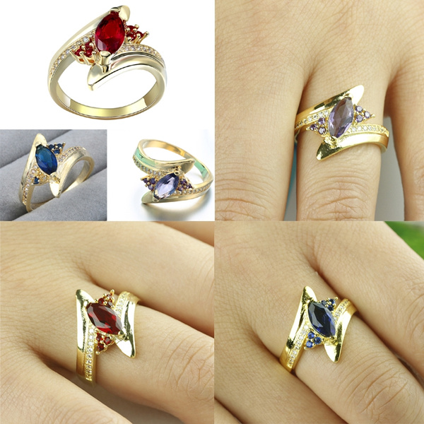 Picture of Gold Romantic 18k Gold Plated Cubic Zirconia Engagement Wedding Ring