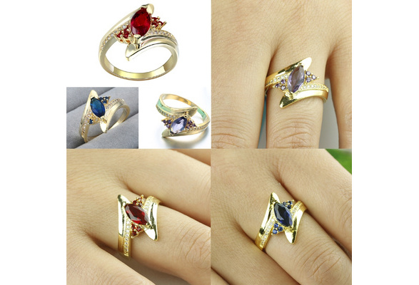 GOLD ROMANTIC 18K Gold Plated Cubic Zirconia Engagement Wedding Ring 3Colors Size 6-12