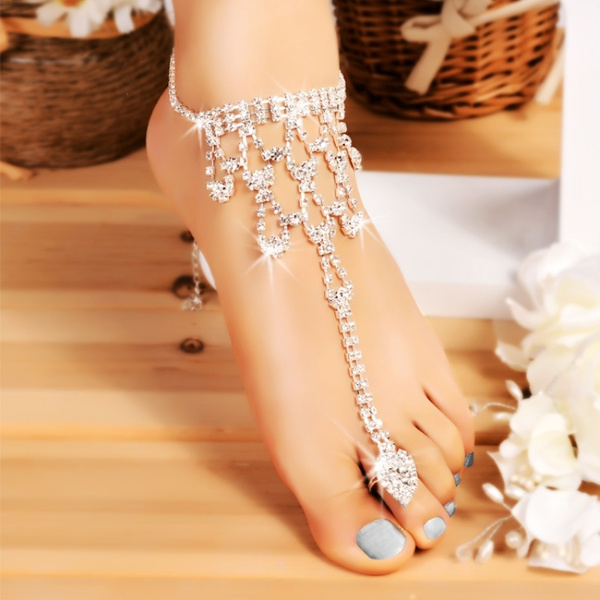 Hot Fashion Women Imitated Crystal Barefoot Sandal Beach Wedding Foot Anklet