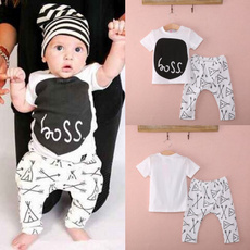Newborn 0 6 12 18 24Months Baby Boy Girl Clothes T-shirt Pants Outfits Set AU Boss pattern black and white