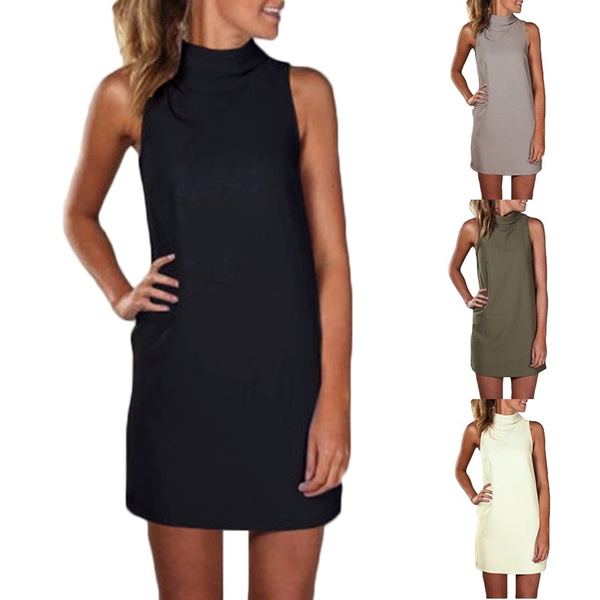 New Arrival Women Summer Sexy Party Dress Elegant Sleeveless Turtleneck Mini Dress