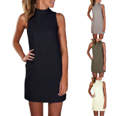 sleeveless turtleneck mini dress