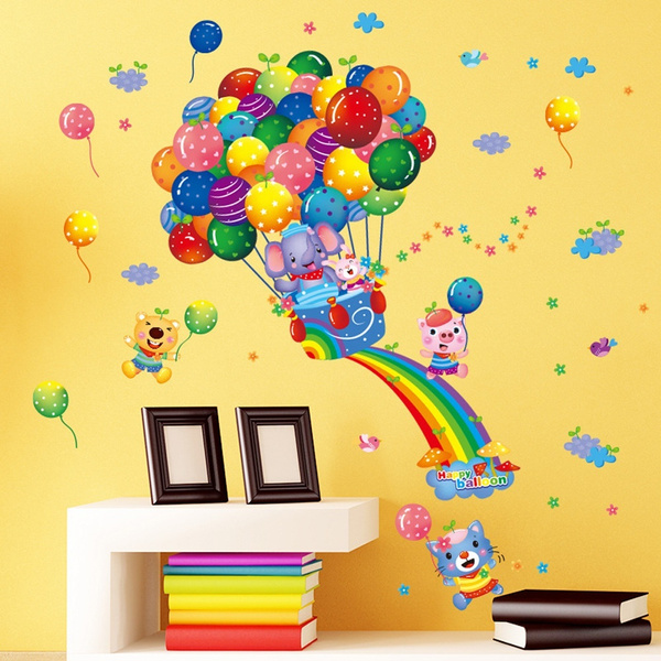 Wish | Rainbow Balloons Elephants Pigs Bear Animals Birds Flowers ...