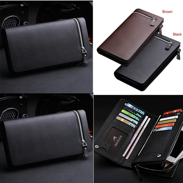 Picture of Mens Wallets Pu Leather Wallet For Men Credit Card Holder With Zipper Trifold