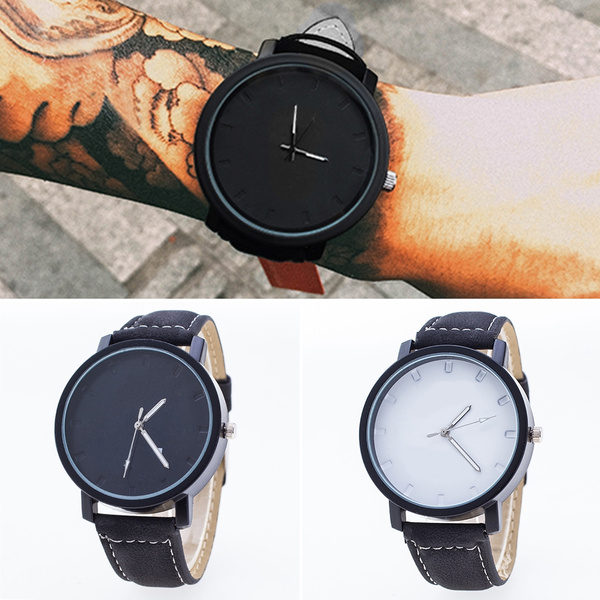 Picture of Unisex Casual Large Dial Pu Leather Band Analog Quartz Wrist Watches