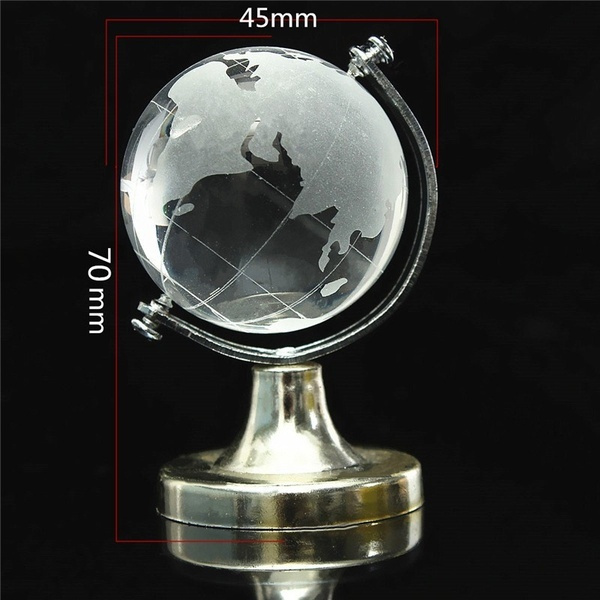 Wish world map earth round globe crystal glass clear paperweight wish world map earth round globe crystal glass clear paperweight stand desk decor wkws gumiabroncs Gallery