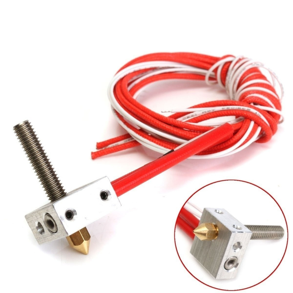 Picture of 12v 1.75mm 0.4mm Mk8 Nozzle Thermocouple Aluminum Heating Block Extruder Hot End For Prusa I3 3d Printer