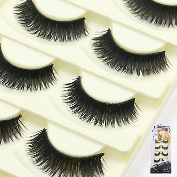 Picture of 5 Pairs Thick Cross Soft Eye Lashes Extension Black False Eyelashes Handmade