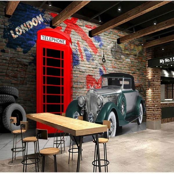 British phone booth vintage car landscape large mural wallpaper bedroom  living backdrop painting three-dimensional wallpaper
