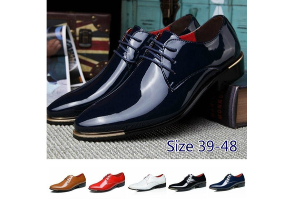 Men's Patent Leather Lace-up Dress Oxford Wedding Shoes Plus Size 38-48