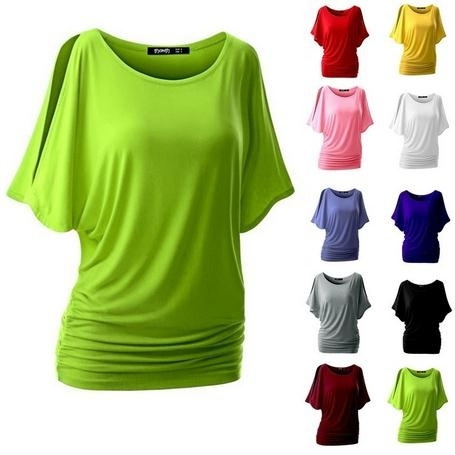 Picture of Cotton T-shirt Women Hot Tops Round Neck Bat Sleeve Tops T Shirt Casual Shirt